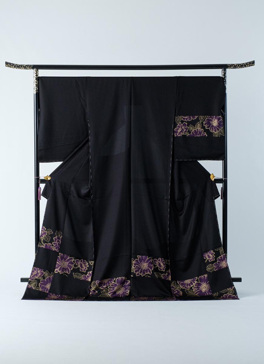 訪問着 黒 紫花 モダン シック 友禅染 フォーマル パーティに