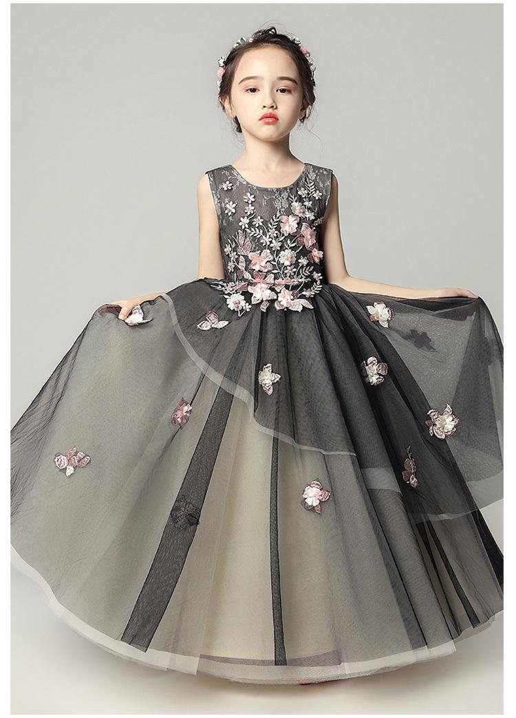 98f3a36008b74 子どもドレス キッズドレス ジュニアドレス フォーマル用 ピアノ発表会 結婚式 入園式 卒業式 子供服 女の子 ロングドレス ワンピース ブラック 黒い