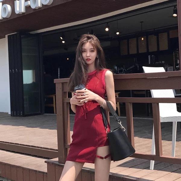 red garter dress