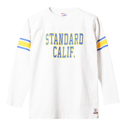 STANDARD CALIFORNIA #SD Heavyweight Football Long Sleeve T White