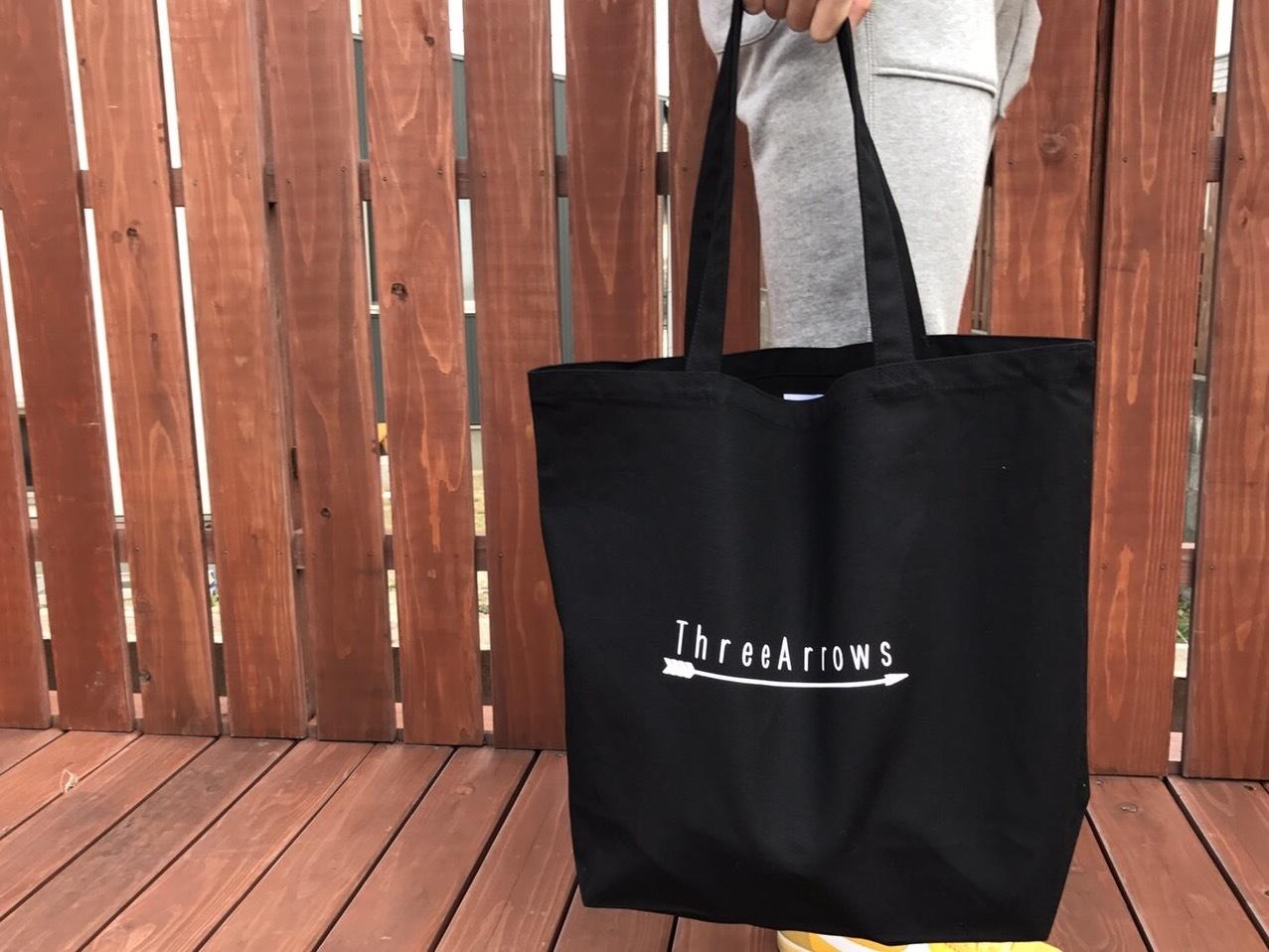 ThreeArrowsトートバック Mサイズ (black)