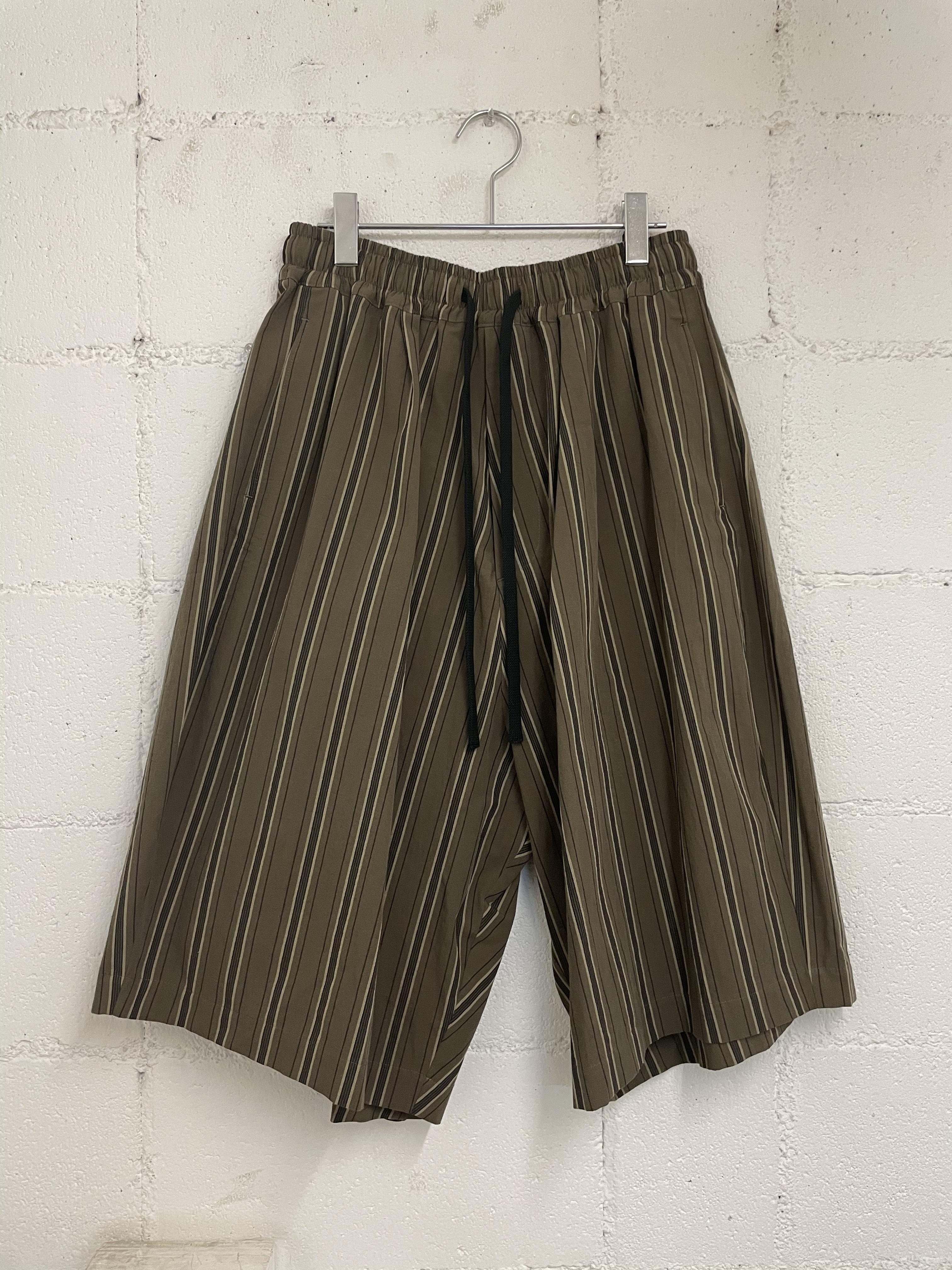 『my beautiful landlet』washer stripe back wrap harf pants / brown