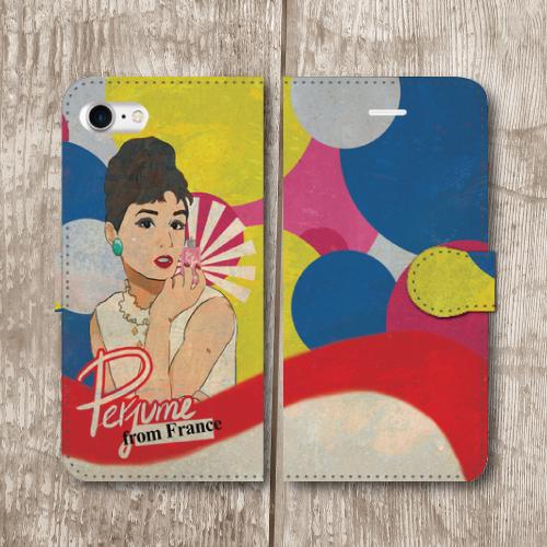 レトロポスター/アメリカンポップ/香水/ビンテージ調/レトロ/赤色/iPhoneスマホケース(手帳型ケース)