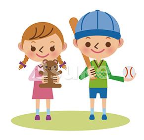 イラスト素材:ぬいぐるみを抱えた女の子と野球好きの男の子(ベクター・JPG)