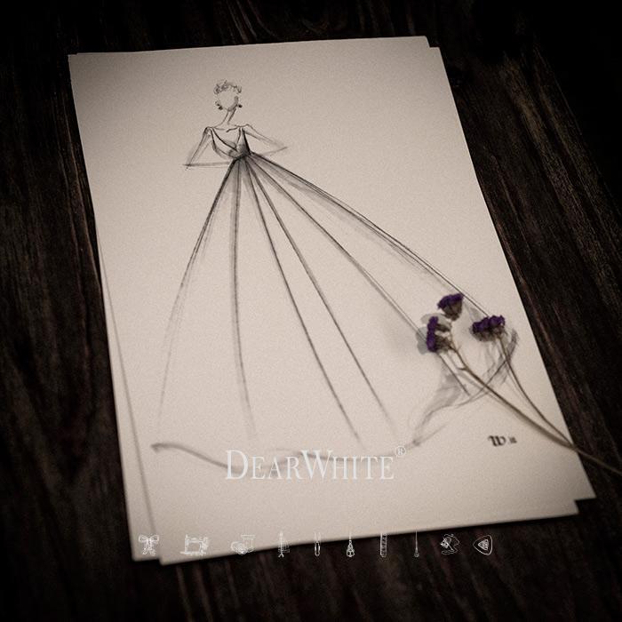 dw_b_18【DearWhite】オーダーメイドウェディングドレス Aライン プリンセス エンパイア デコルテ 結婚式 披露宴 二次会 パーティーウェディングドレス・カラードレス・サイズオーダー格安オーダーメイド