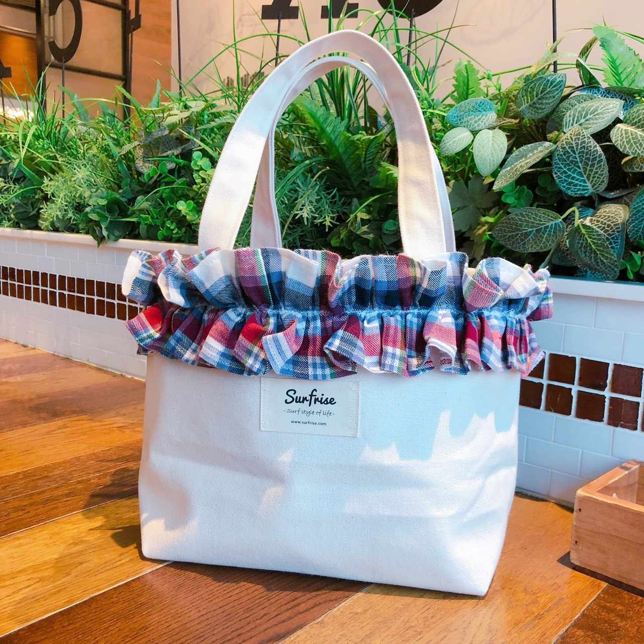 Fluffy bag - White/BlueCheck