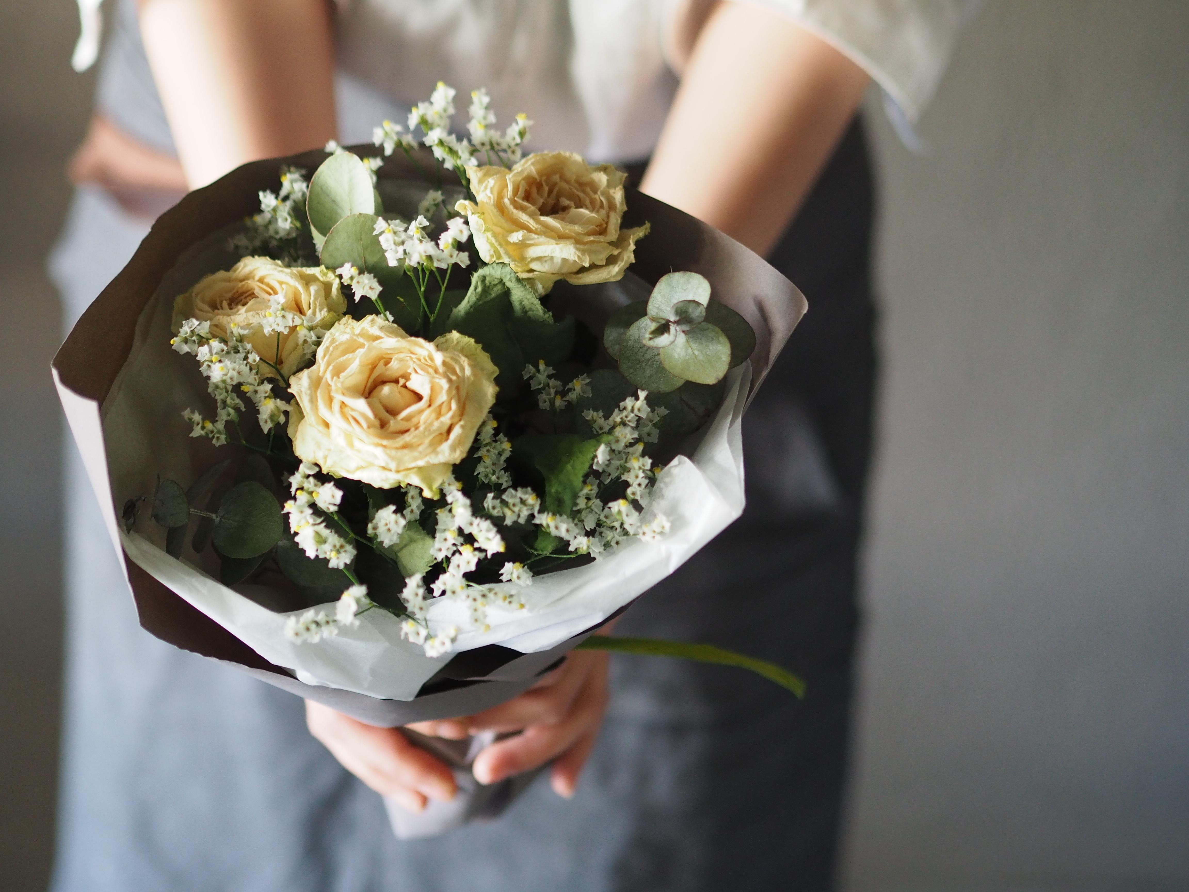 【ドライブーケ】White rose