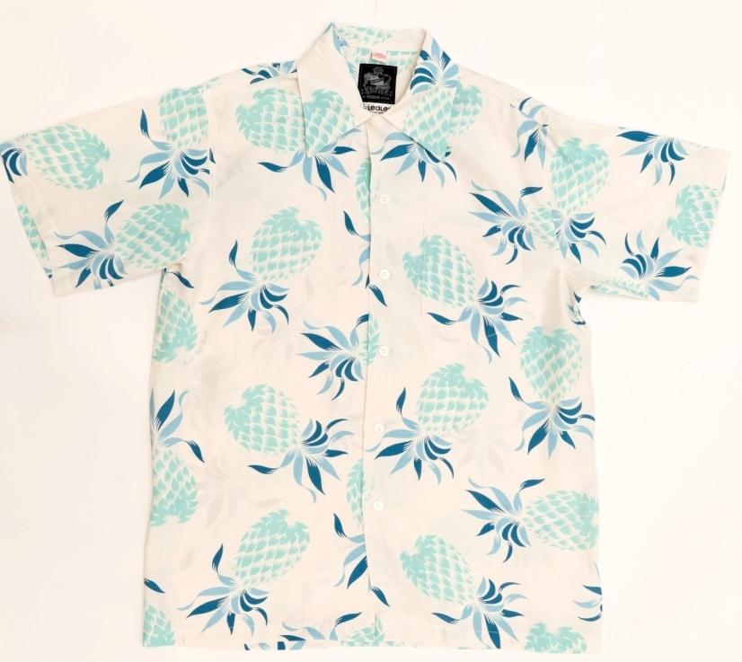 【LeaLea×Kona Bay Hawaii】メンズアロハシャツ(ホワイト)