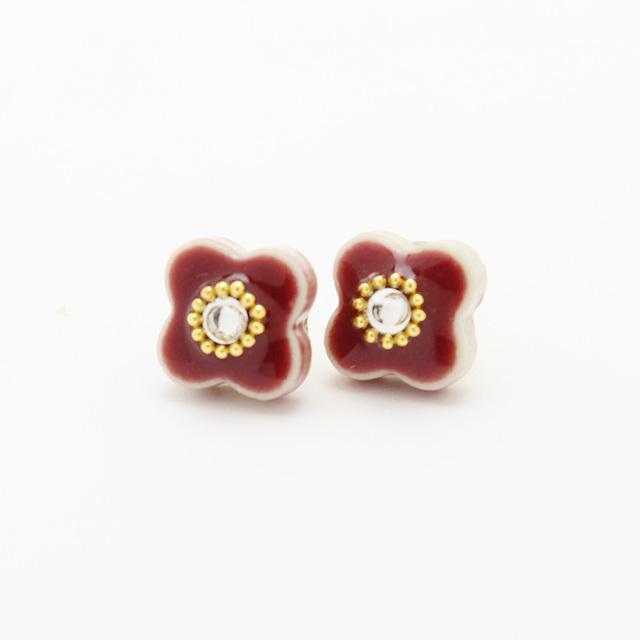 伝統工芸品 美濃焼 小花のビジュー イヤリング&ピアス レッド
