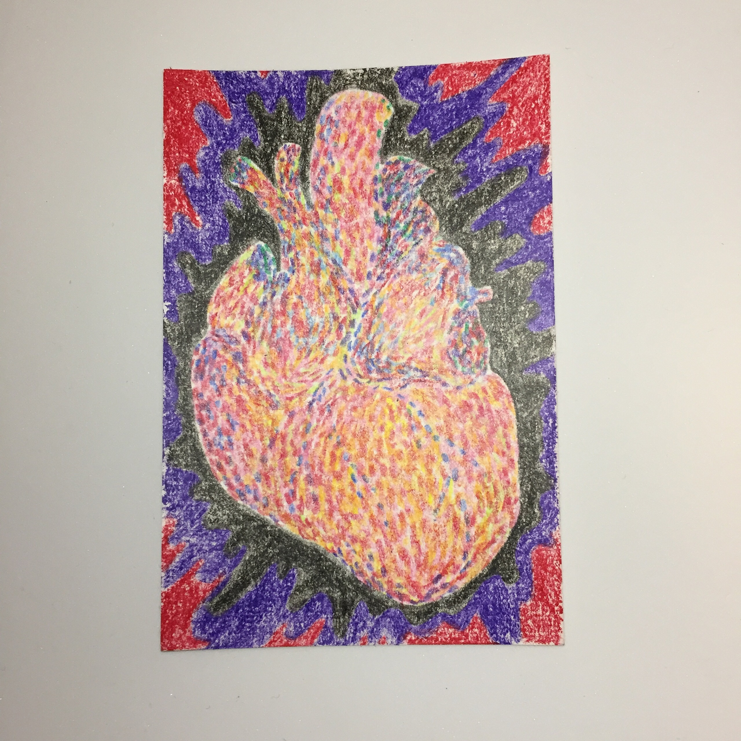 Depressive heart / 100mm×148mm / Crayon / Original Drawing