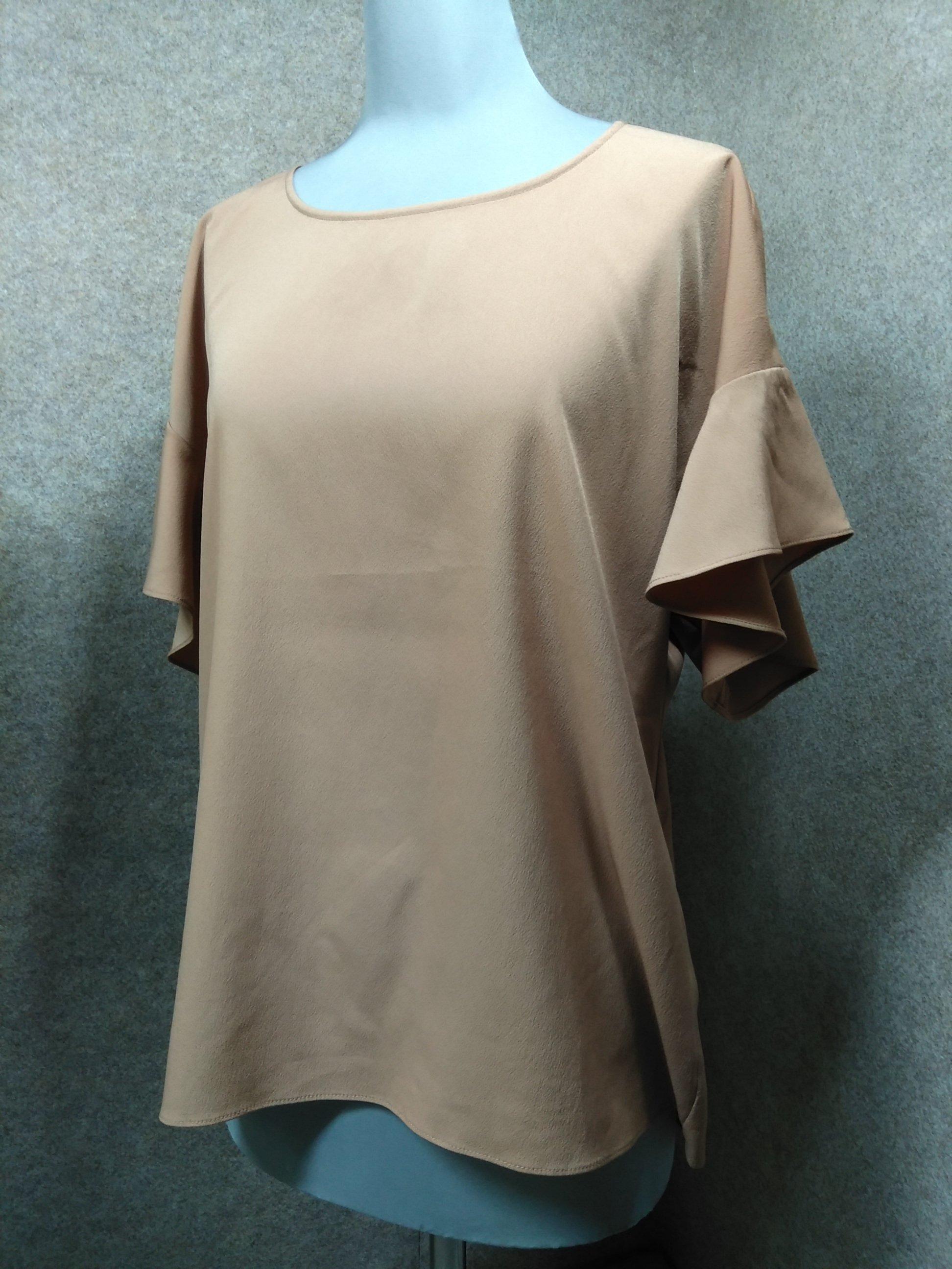 クードシャンス フリル袖 カットソー 38 薄茶 mu752e