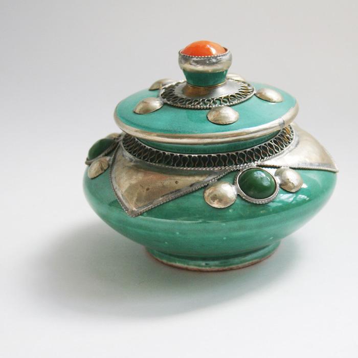 アラビアン陶器壷/75/エメラルドグリーン/MOROCCO モロッコ