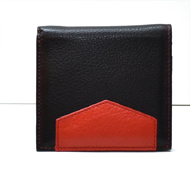 カーフレザー 二つ折財布 ブラック K-sセレクト