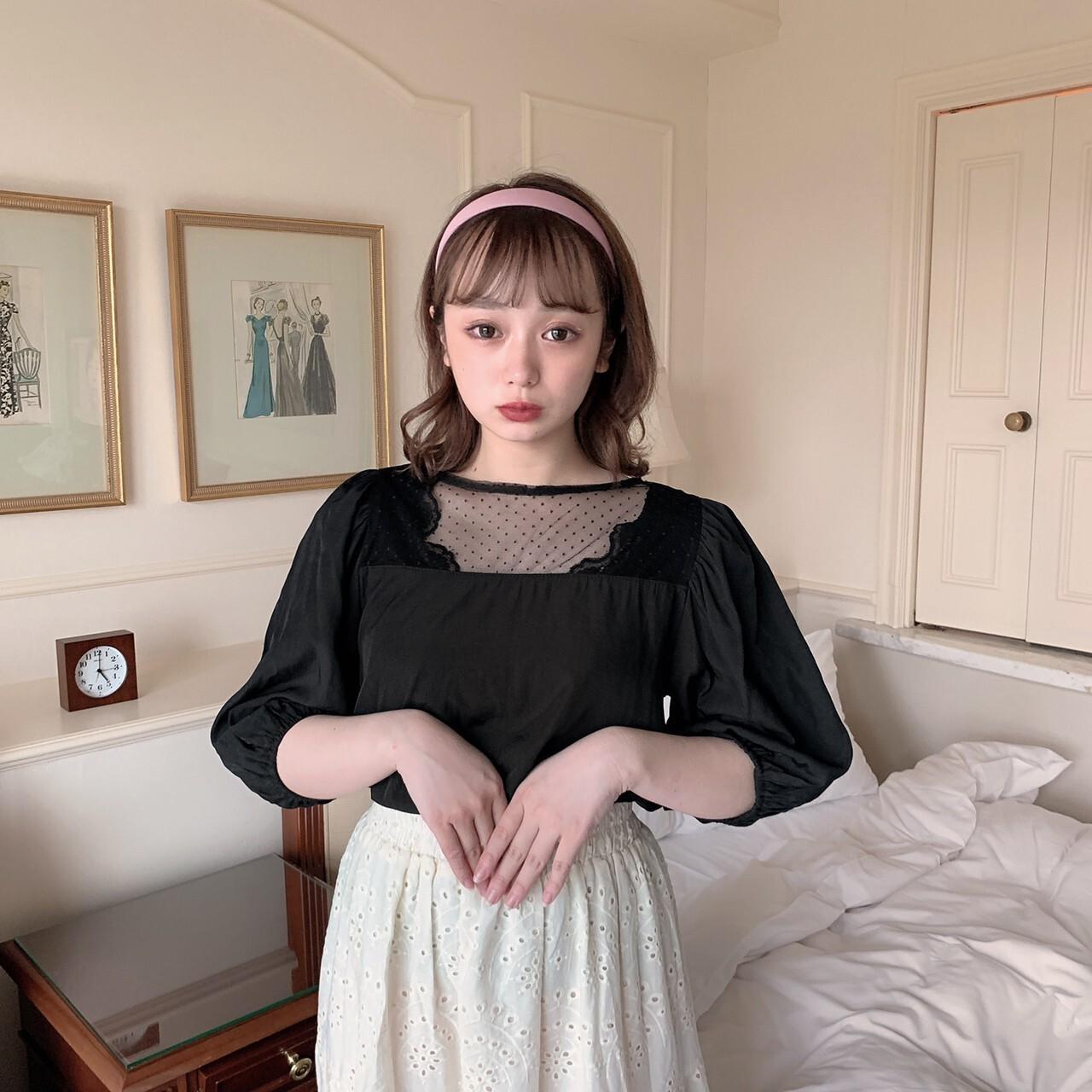 【meltie】see-through dot blouse