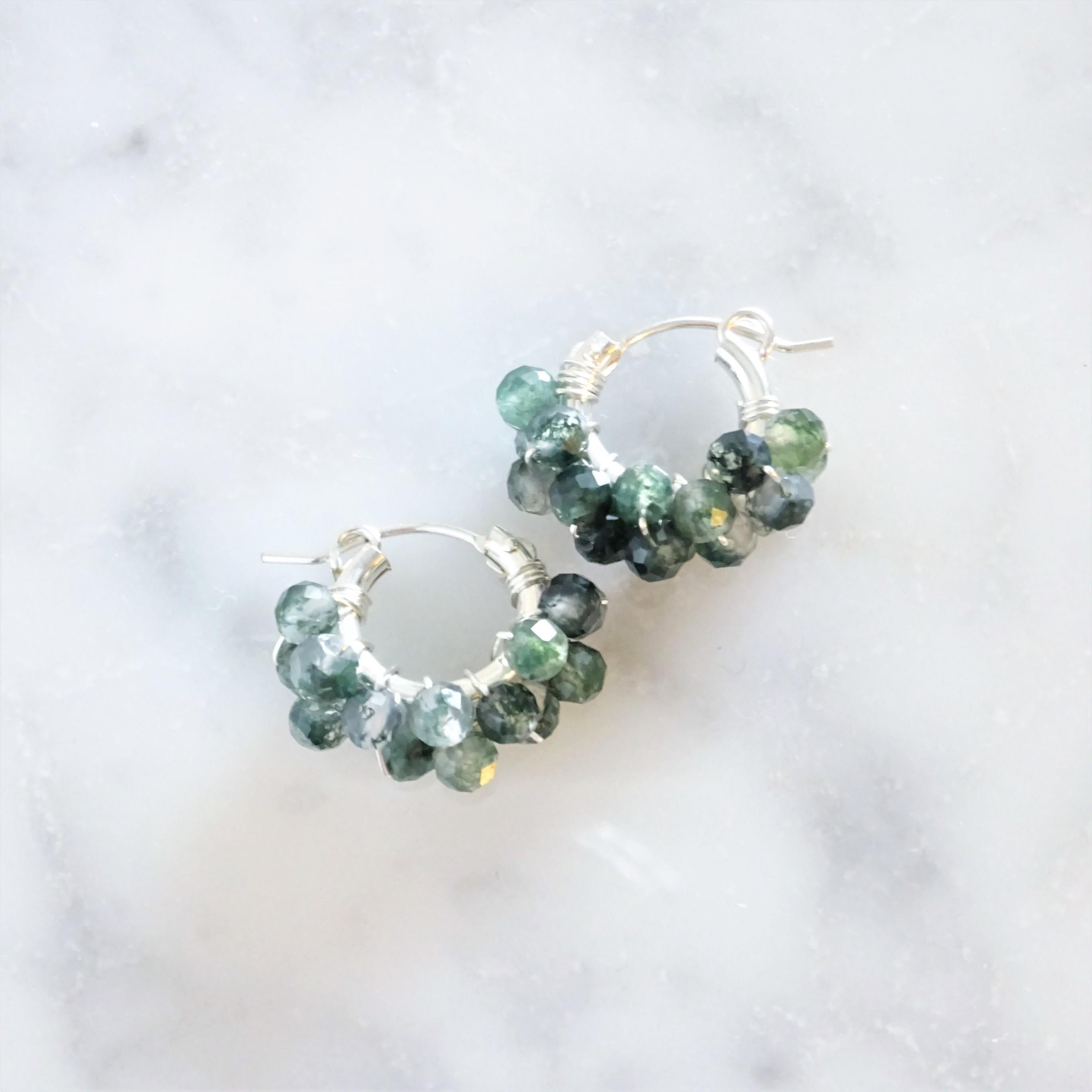 送料無料 SV925SF*Moss Agate pavé pierced earring / earring