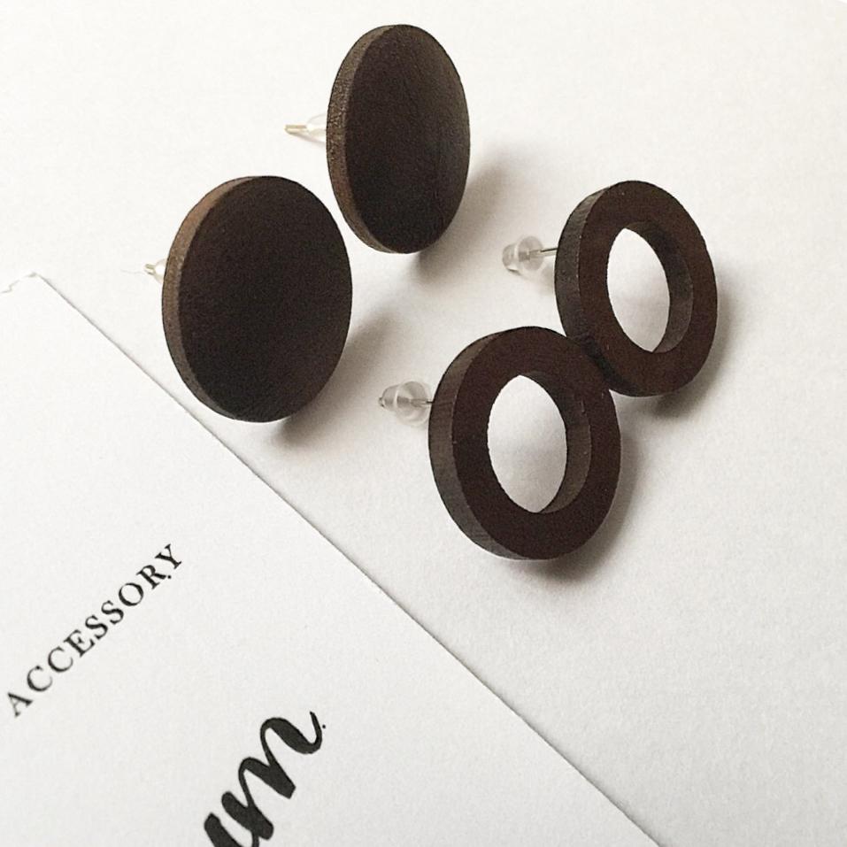 【ピアス】木製ピアス サークルor丸型