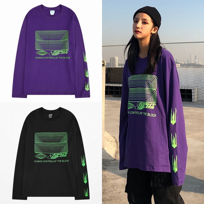 ユニセックス 長袖 Tシャツ 韓国ファッション メンズ レディース プリント 袖プリント オーバーサイズ 大きいサイズ ストリート