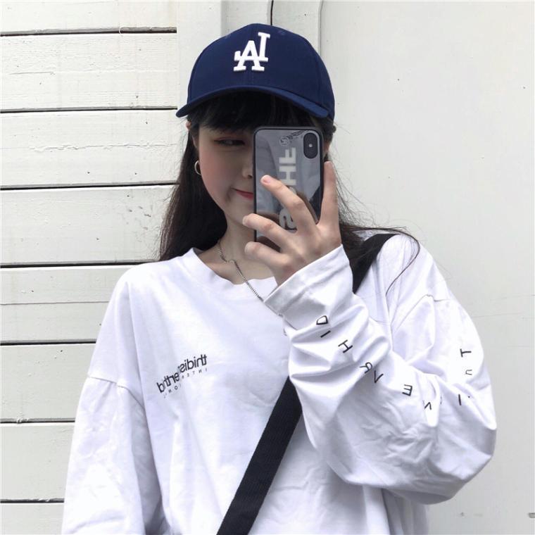 【送料無料】おしゃれな袖プリ ♡ カジュアル メンズライク オーバーサイズ バックプリント ロンT カットソー Tシャツ トップス