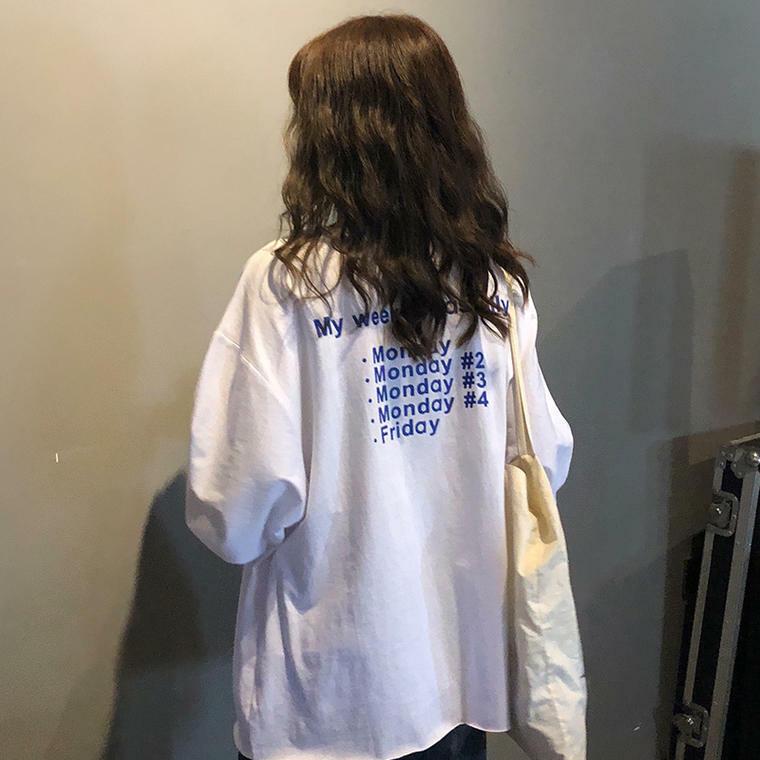 【送料無料】 華奢魅せ効果抜群♡ ゆるだぼ ロゴ ロンT 長袖 Tシャツ ボリューム袖 カジュアル