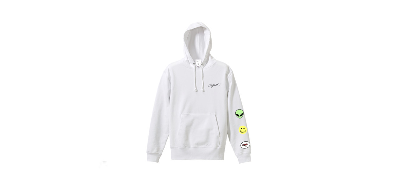 coguchi happy graphic hoodie (WHT)