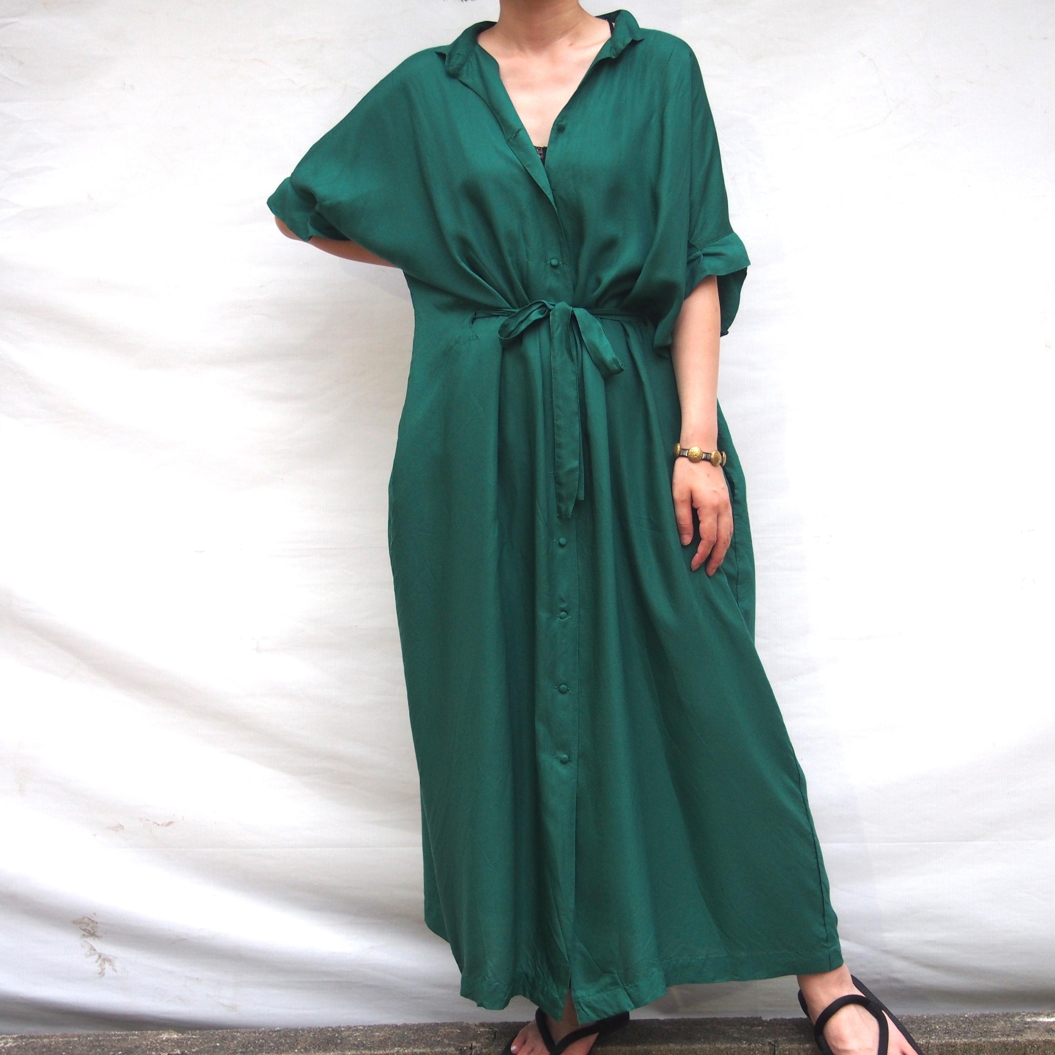 【hippiness】cupro  tack sleeve  one piece(green) /【ヒッピネス】キュプラ タックスリーブ ワンピース(グリーン)