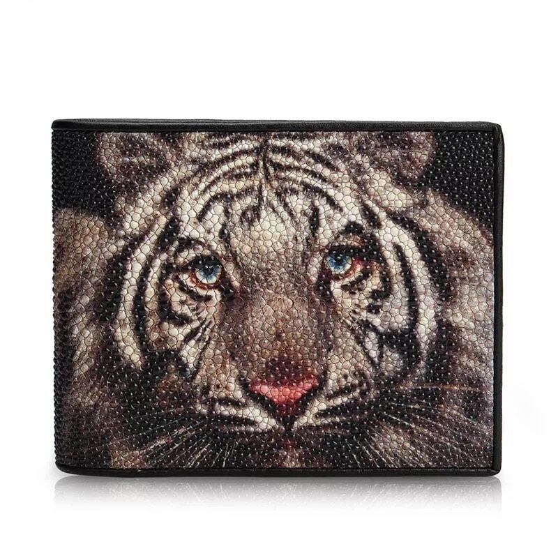 迫力のある 虎 エイ革 メンズ 二つ折り財布 クラッチ財布 虎 スティングレイ【金運アップ】
