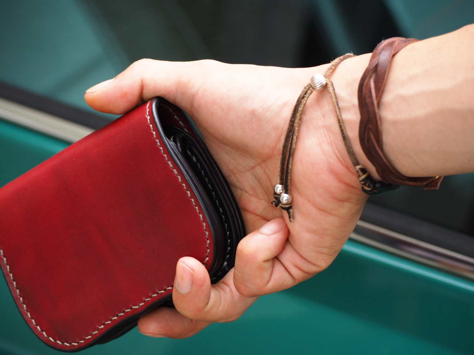 【多脂ベンズ 】ショートウォレット【crown】 type1バーガンディ―×ブラック ≪二つ折り財布≫