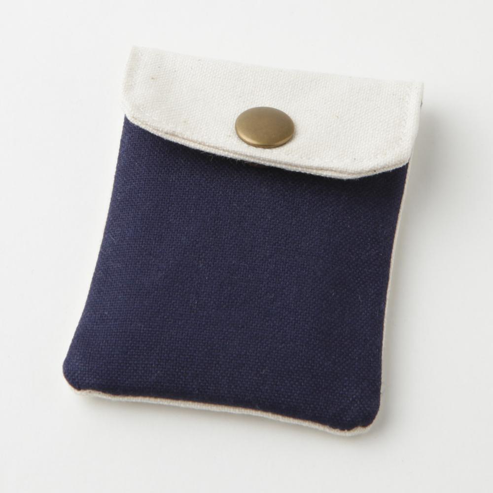 携帯灰皿 おしゃれ かわいい 帆布 ハンプ ネイビー 48084 熟練職人のハンドメイド インナーリフィル合計2個付属 日本製