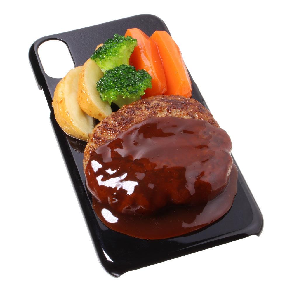 [8000]食品サンプル屋さんのスマホケース(iPhone XS、XS Max、XR:ハンバーグ)【メール便不可】