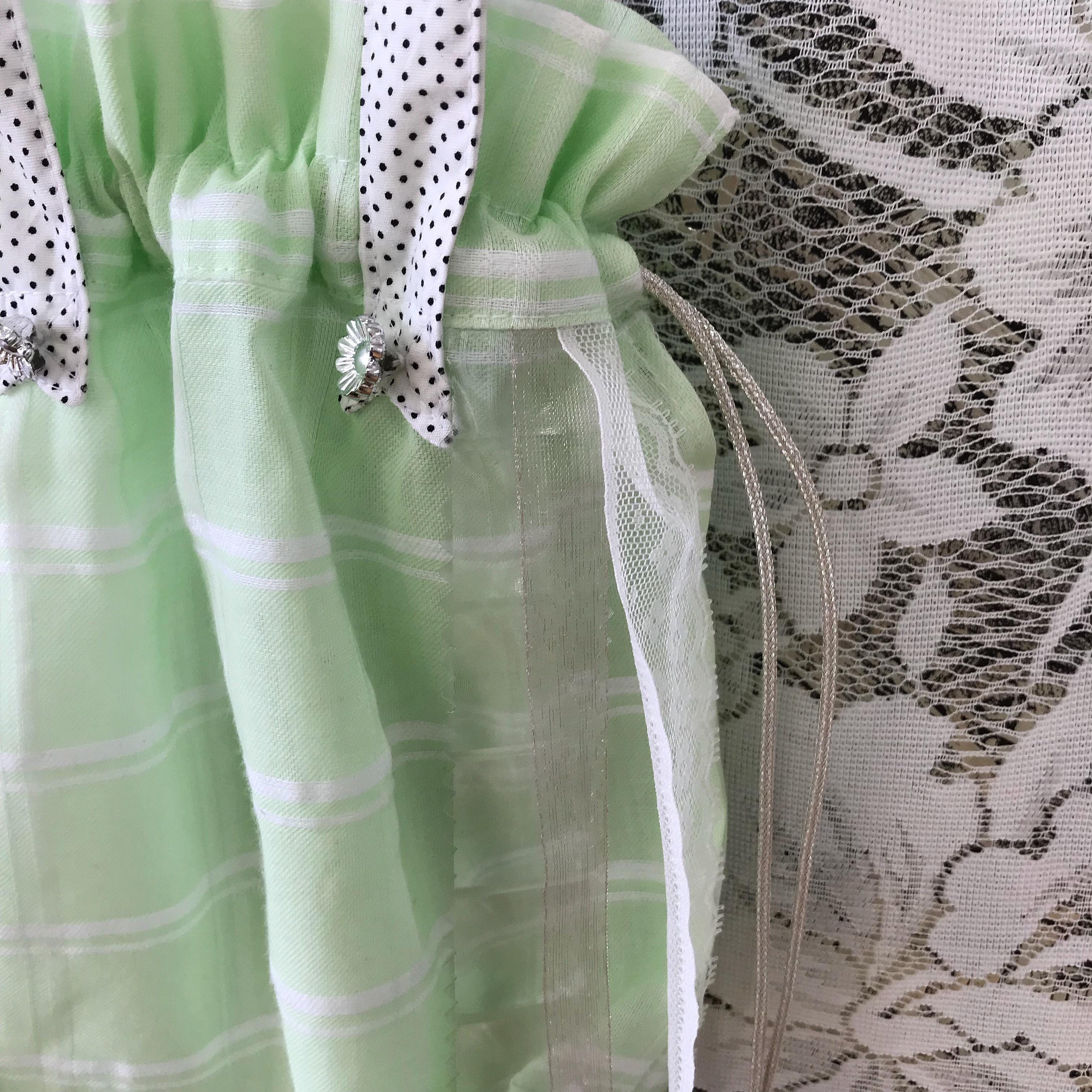 巾着ポシェット〈green×white〉