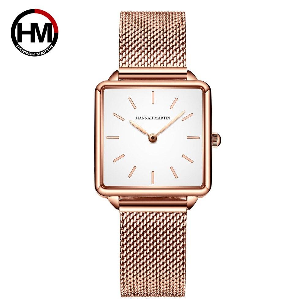 本革ストラップ日本クォーツムーブメントHM-108女性シンプルなデザインのトップの高級ブランド腕時計レディーススクエア腕時計108-B-WFF