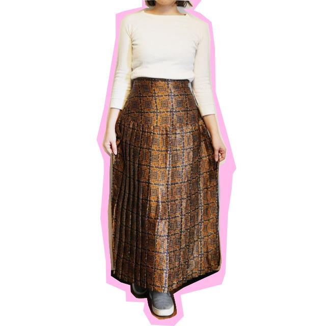 ≪USED≫スカーフプリーツロングスカート