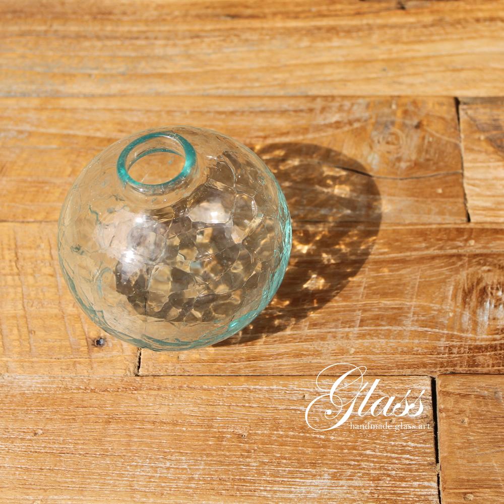 ■当日出荷■吹きガラスの花瓶 球体クラックガラス GL08 アソート フラワーベース