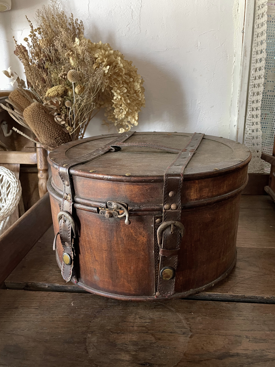 木製ハットボックス サークル 収納箱
