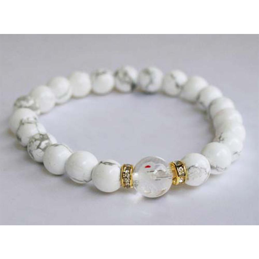 【金運招来・福の神】白蛇水晶&マグネサイト・ブレスレット