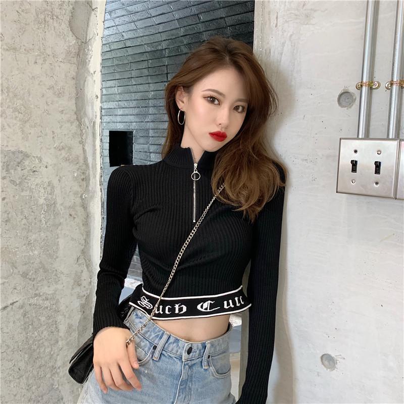 「トップス」女性らしいファッションストリートミニスタンドネック2色長袖tシャツ