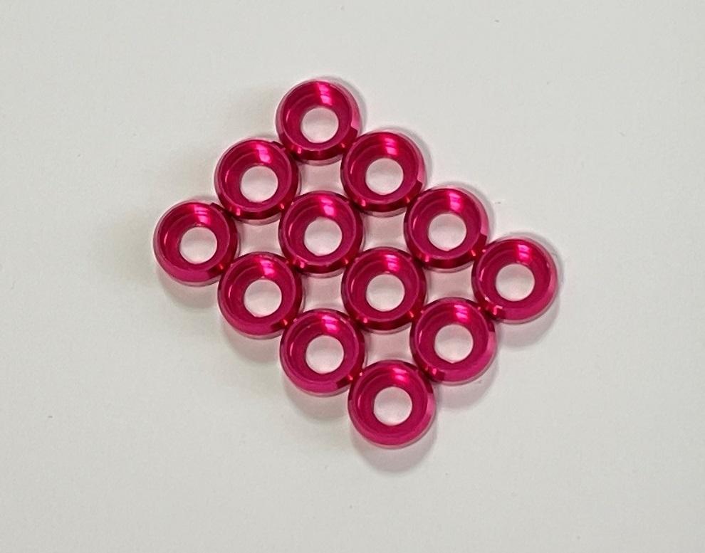 入荷◆M2サイズキャップボルト用 カラーアルミワッシャー12個セット  カラー / ピンク