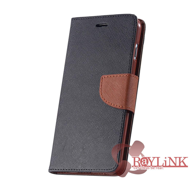 【スマホケース】Floveme iPhone7Plus用二つ折りレザーケース 黒x茶
