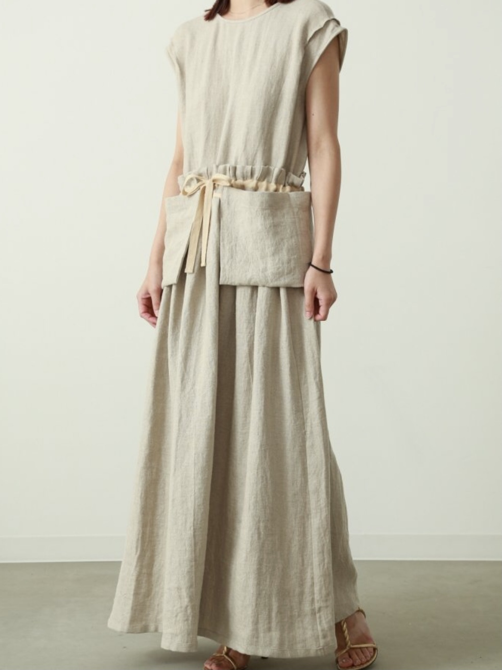 【VillD】HERRINGBONE LINEN DRESS