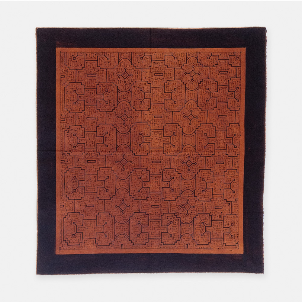 SHIPIBO TEXTILES シピボ族の泥染めの布 茶 740×690mm S013