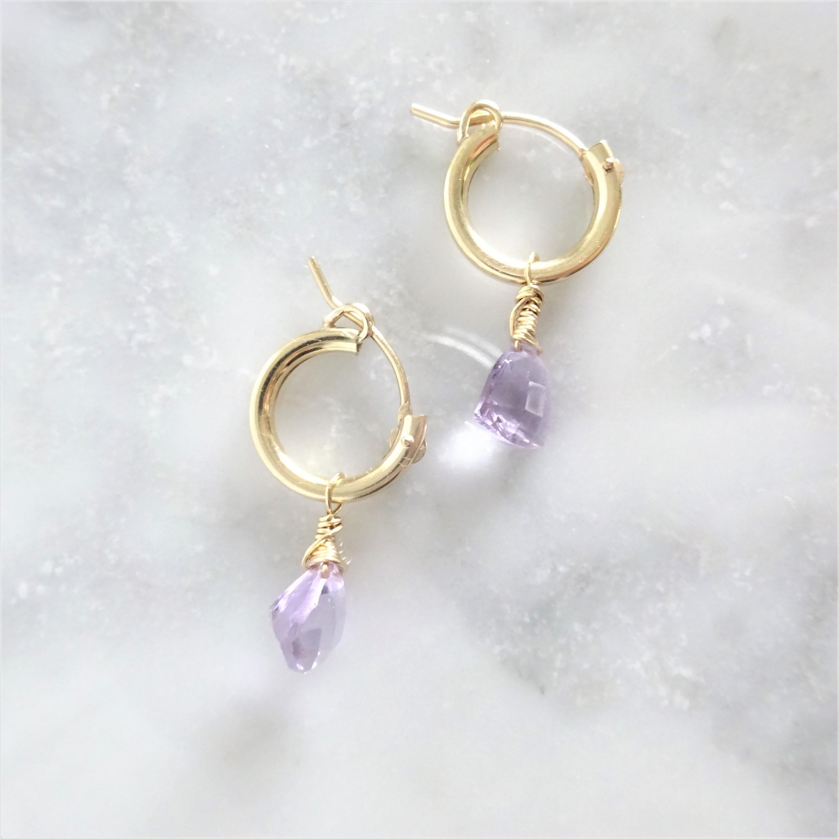 送料無料14kgf*宝石質 Pink Amethyst Triangl pierced earring /earring