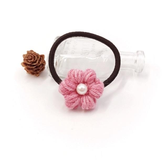 段染め小花のウールヘアゴム*ピンク
