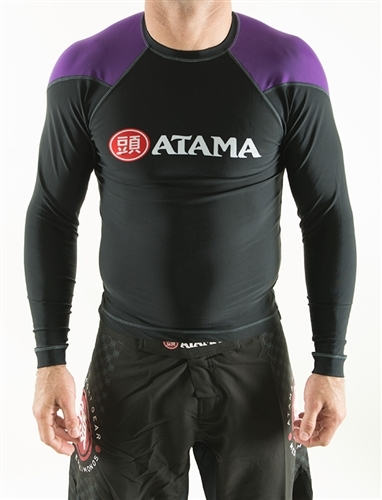 ATAMAのラッシュガード長袖 黒ベース/紫