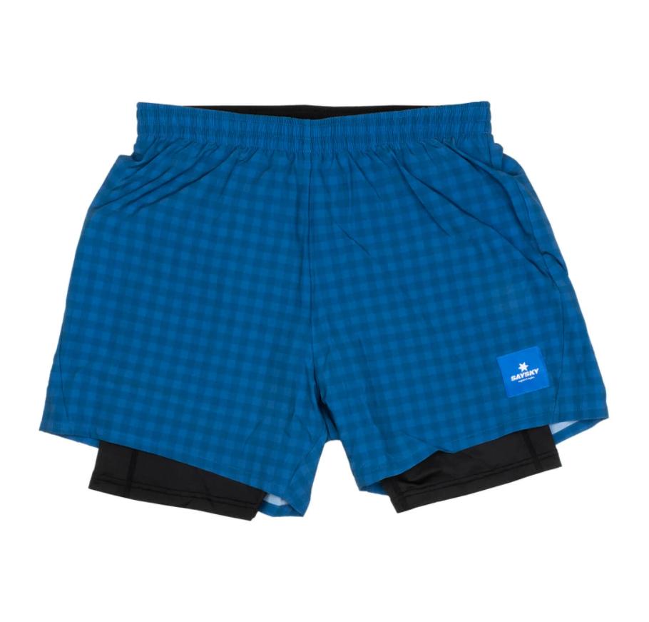 【10%OFF】SAYSKY セイスカイ ランニングショーツ Checker 2 In 1 Shorts - BLUE CHECKERBOARD [ユニセックス] FMRSH01