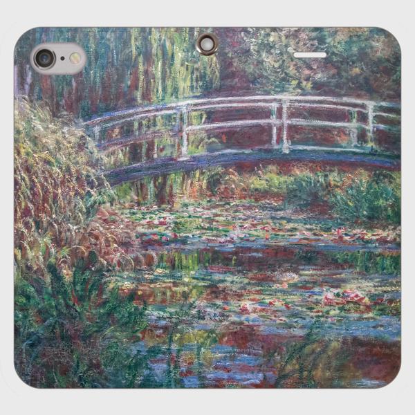 モネ「睡蓮の池、バラ色の調和 1900」 手帳型スマホケース(帯なしタイプ)