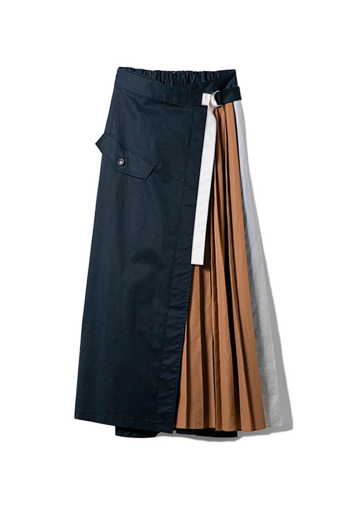 バイカラープリーツトレンチスカート <ネイビー>