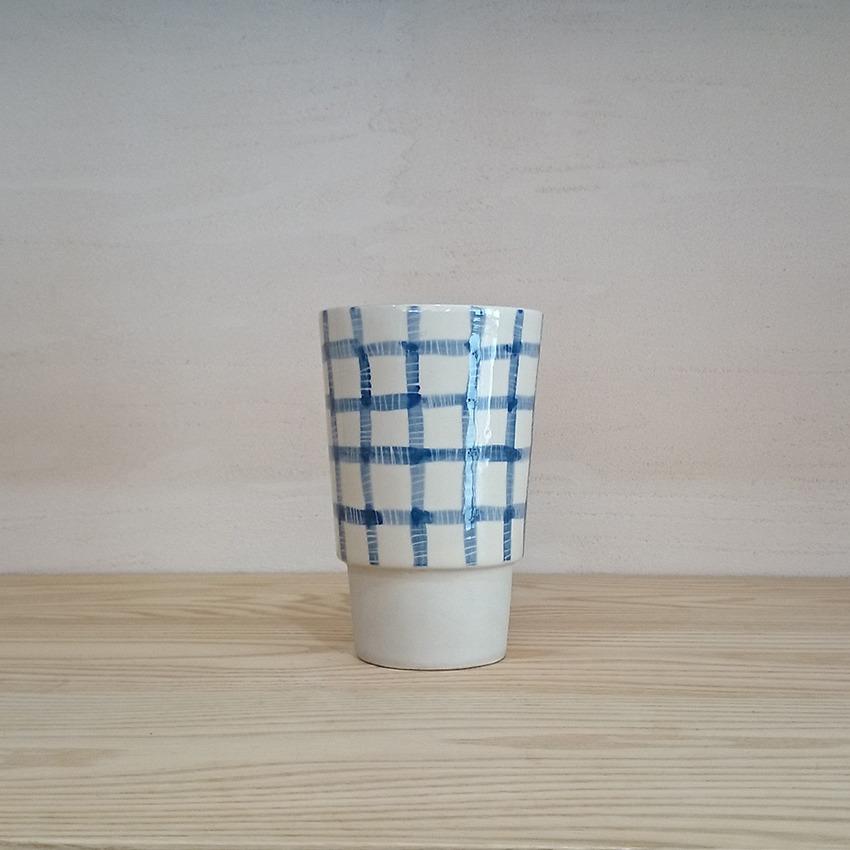 陶器 ギンガム ブルー
