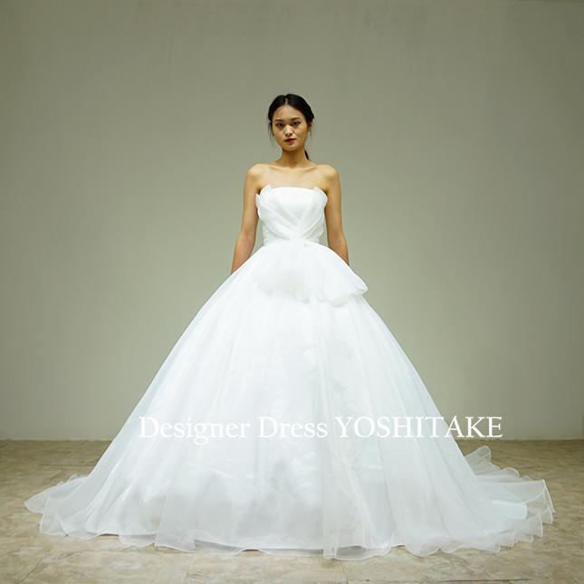 【オーダー制作】ウエディングドレス(無料パニエ) バストVラインオーガンジー超ふわふわプリンセスドレス(パニエ付)結婚式/挙式※制作期間3週間から6週間