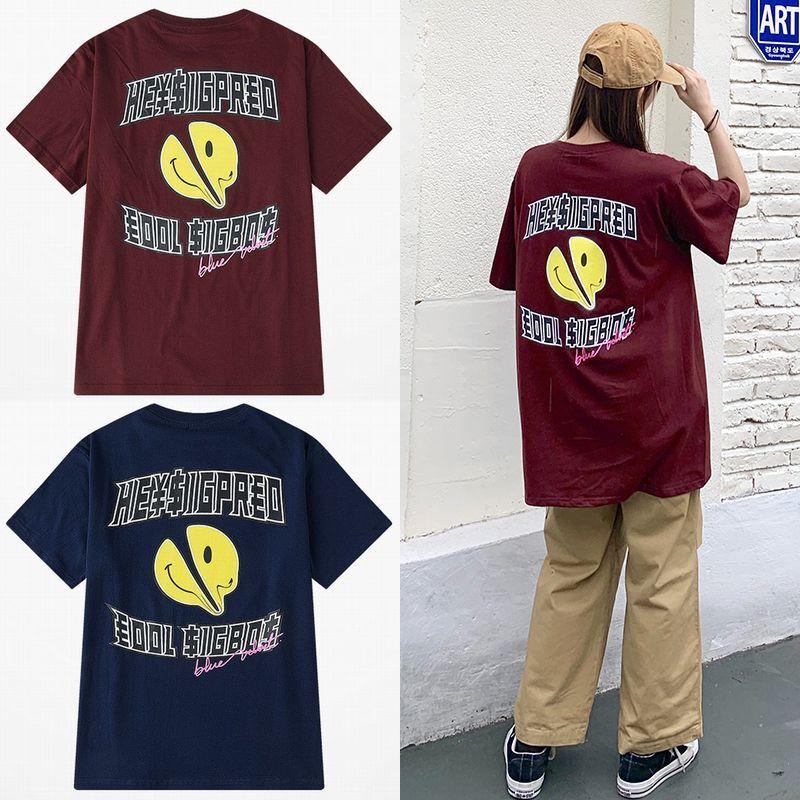 ユニセックス Tシャツ 半袖 メンズ レディース 英字 スマイル ニコちゃんマーク スマイリーフェイス オーバーサイズ 大きいサイズ ルーズ ストリート