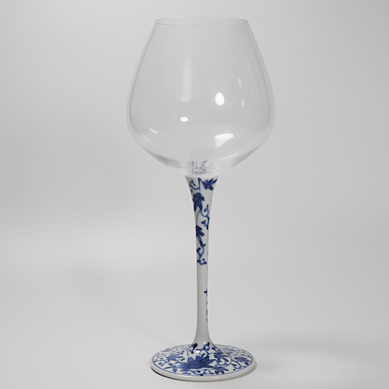 ハイレッグワイングラス(大) (染付華唐草) 20-008-B